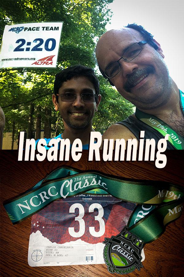 Arvind Balaraman and Carlos Candelaria at Umstead Half, medal and bib