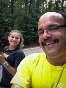Carlos Candelaria and Bianca Candelaria running Virtual Minion 5k