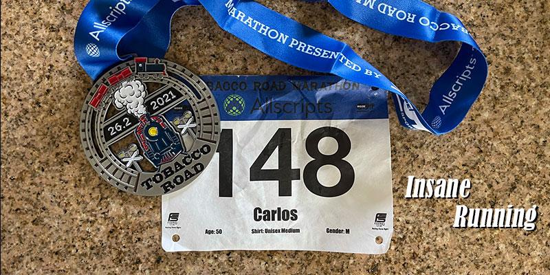 2021 Tobacco Road Marathon Medal and Bib