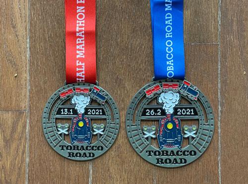 2021 Tobacco Road Marathon Medals