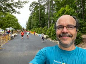 2021 Tobacco Road Half Marathon Carlos Candelaria at the finish